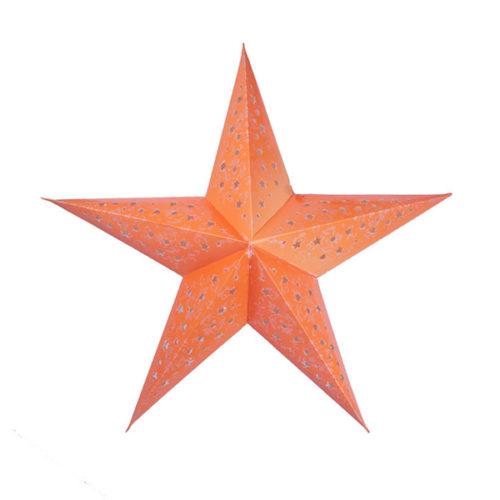 Звезда бумажная 60 см с рисунком оранжевая