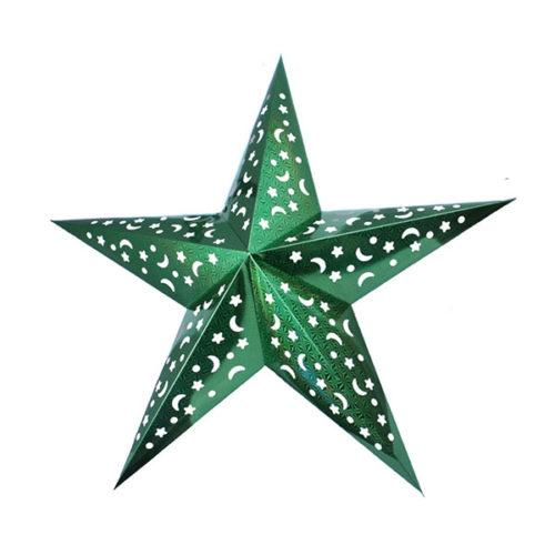 Звезда бумажная 90 см голографическая зеленая