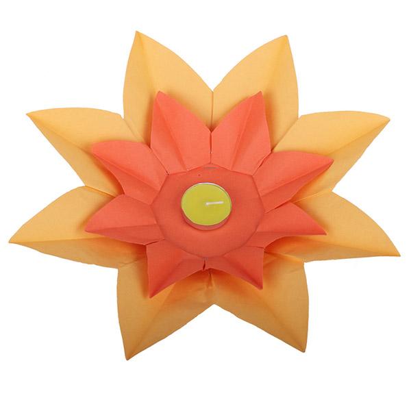 Плавающий фонарик d 28 см Лотос ярко-желтый + оранжевый