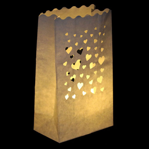 Светящийся пакет 26 х 9 х 15 Сердечки