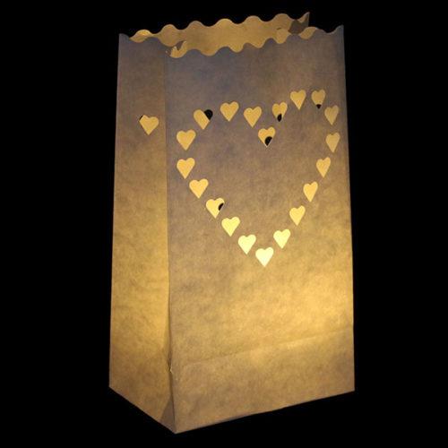 Светящийся пакет 26 х 9 х 15 Сердце большое