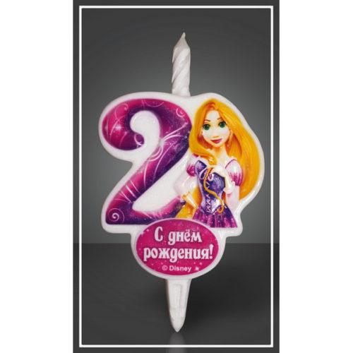 Свеча Цифра 2 Disney Принцесса Рапунцель