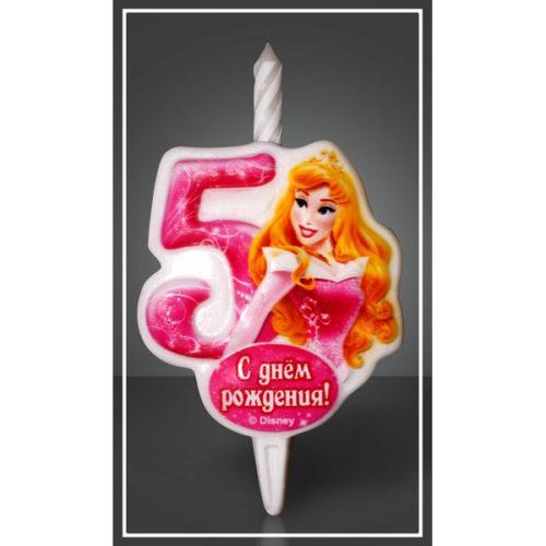 Свеча Цифра 5 Disney Принцесса Аврора 12 см