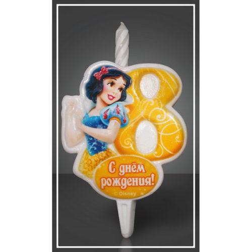 Свеча Цифра 8 Disney Принцесса Белоснежка 12 см