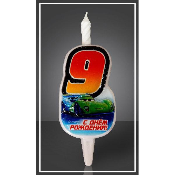 Свеча Цифра 9 Disney Тачки 12,5 см
