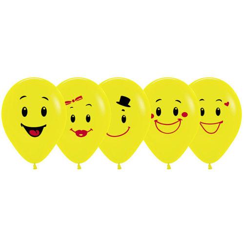 Шар 30 см Ассорти смайлов 5 дизайнов Желтый Пастель