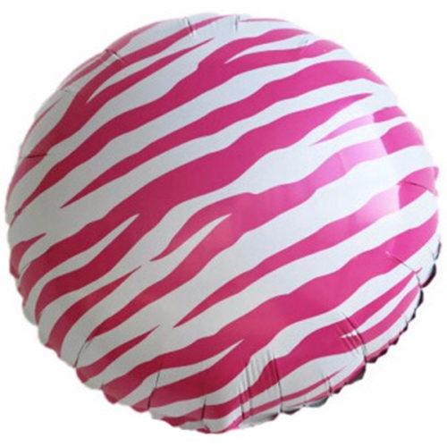 Шар 46 см Круг Полоски зебры Розовый