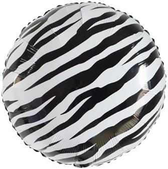 Шар 46 см Круг Полоски зебры Черный