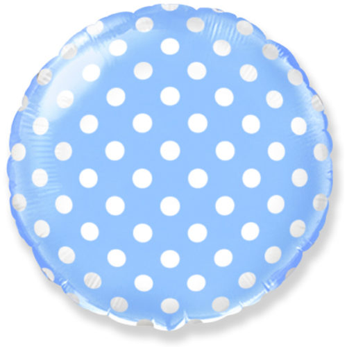 Шар 46 см Круг Точки Голубой