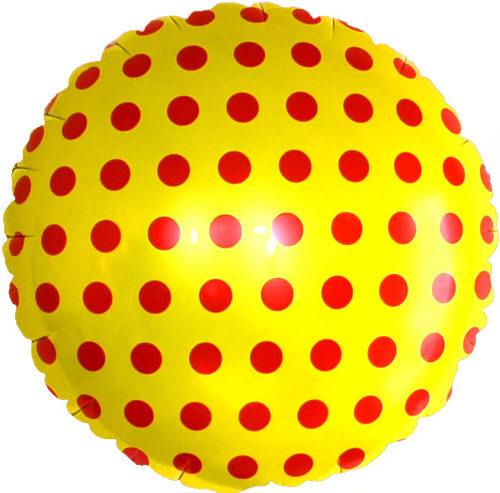 Шар 46 см Круг Точки Желтый и красный (2)