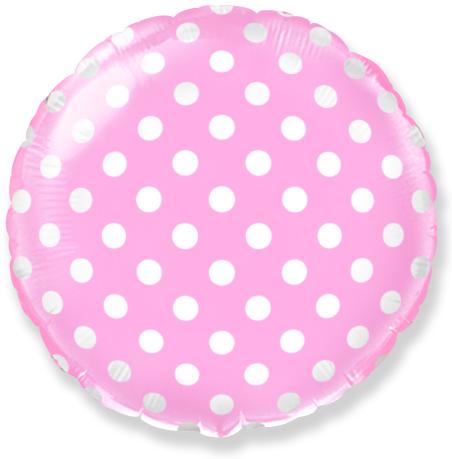 Шар 46 см Круг Точки Розовый