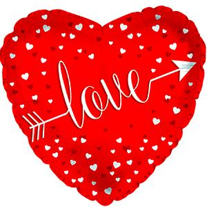 Шар 46 см Сердце Любовь стрела Красный