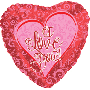 Шар 46 см Сердце Я люблю тебя кружевное сердце Красный