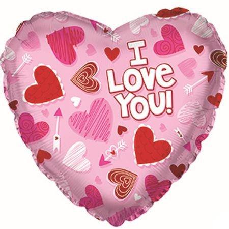 Шар 46 см Сердце Я люблю тебя сердечки на розовом