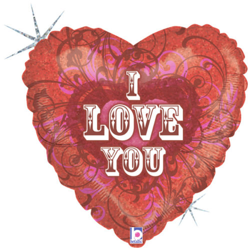 Шар 46 см Сердце Я тебя люблю Голография