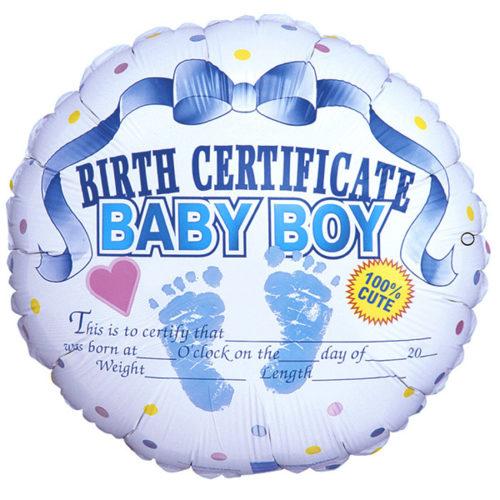 Шар 46 см Сертификат о рождении мальчика