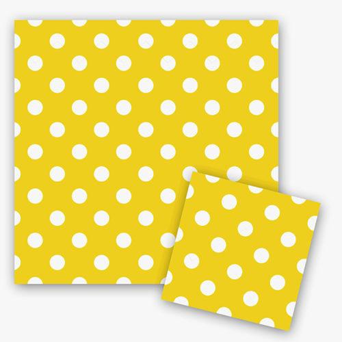Салфетки 33 см X 33 см Горошек Желтый 12 штук