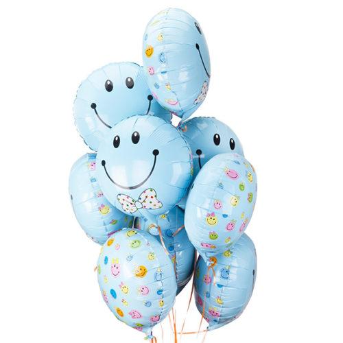 Связка из 9 голубых смайликов воздушных шаров