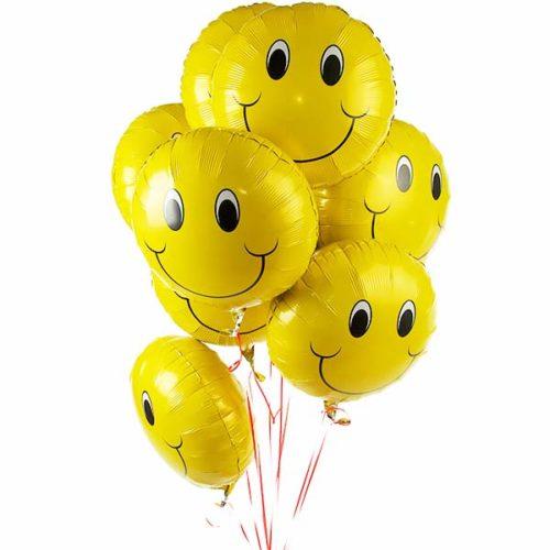 Связка из 9 желтых смайликов воздушных шаров