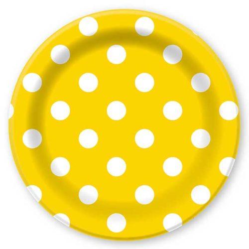 Тарелки бумажные 23 см Горошек Желтый 6 штук
