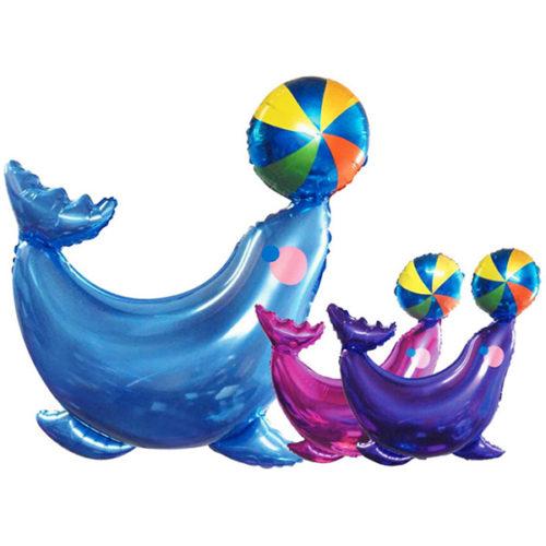 Шар 41 см Мини-фигура Морской котик Голубой