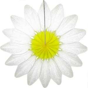 Бумажное украшение 36 см Цветок белый