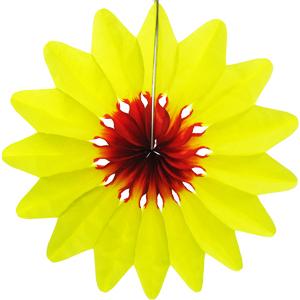 Бумажное украшение 36 см Цветок желтый
