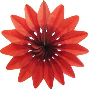 Бумажное украшение 36 см Цветок красный