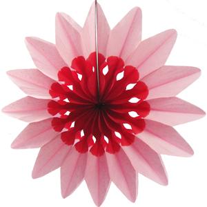 Бумажное украшение 36 см Цветок розовый