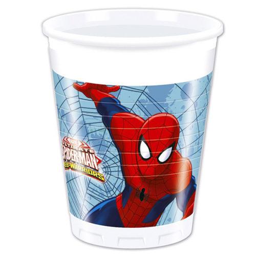 Стаканы пластиковые 200 мл Человек-паук Веб воины 8 штук