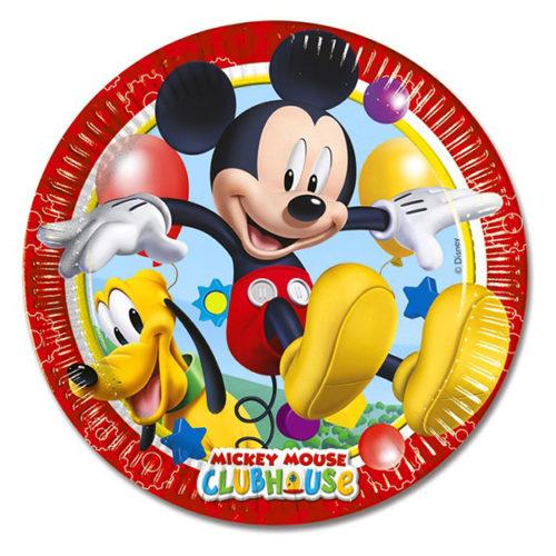 Тарелки бумажные 20 см Игривый Микки Маус 8 штук