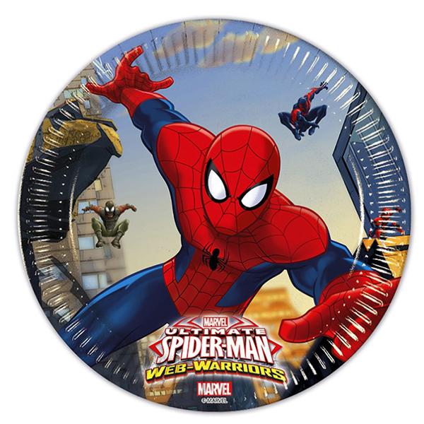 Тарелки бумажные 23 см Человек-паук Веб воины 8 штук