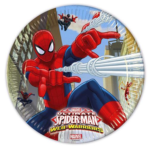 Тарелки бумажные 20 см Человек-паук Веб воины 8 штук