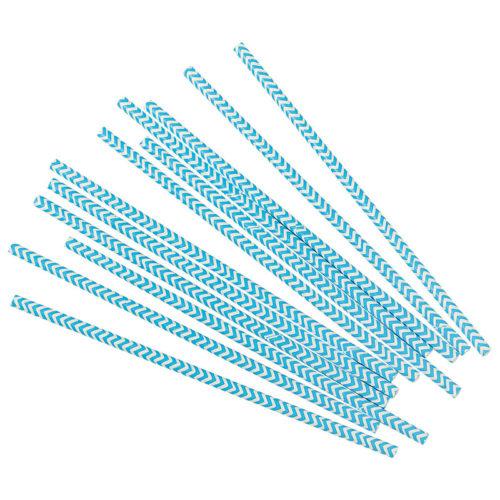 Трубочки для коктейлей голубые зигзаги 12 шт