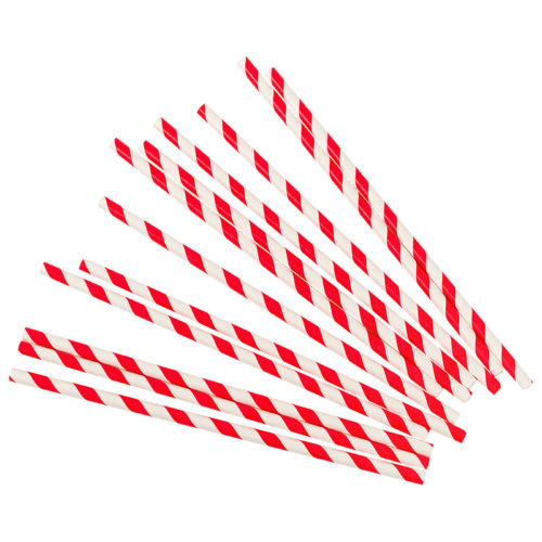 Трубочки для коктейлей красные полосы 12 шт