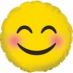 Шар 23 см Мини-круг Смайл Эмоции Розовые щечки Желтый