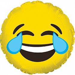Шар 23 см Мини-круг Смайл Эмоции Слезы радости Желтый