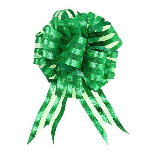 Бант Шар органза Полоска Зеленый 16 см 10 шт