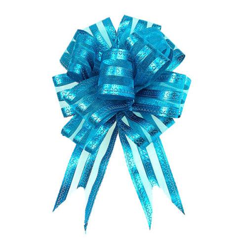Бант Шар органза Полоска голубой 16 см 10 шт