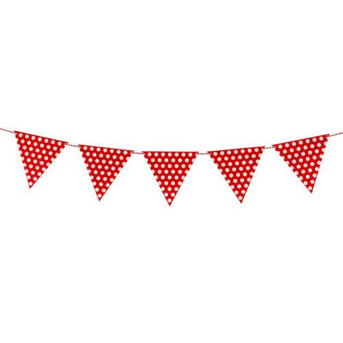 Гирлянда флажки Точки на веревке красный 2 м
