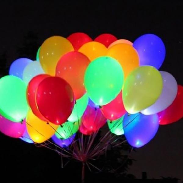 Набор из 50 светящихся воздушных шаров разноцветных без рисунка