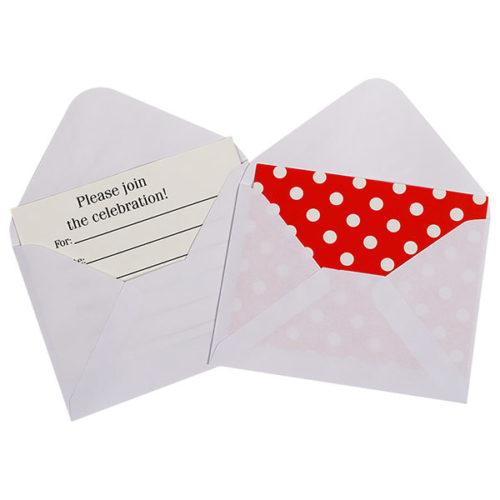 Открытка пригласительная с конвертом Точки красный 12 шт