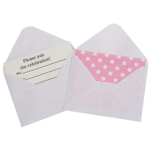 Открытка пригласительная с конвертом Точки розовый 12 шт