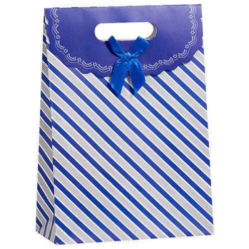 Пакет подарочный 19 x 27 x 9 Полосы синий