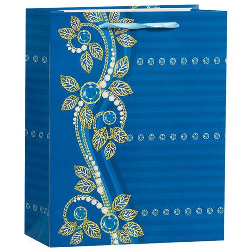 Пакет подарочный 26 х 32 х 12 Бусинки синий