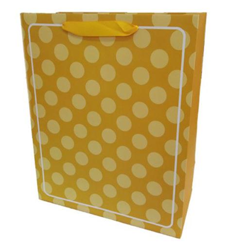 Пакет подарочный 26 х 32 х 12 В белую точку Желтый