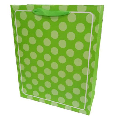 Пакет подарочный 26 х 32 х 12 В белую точку Зеленый