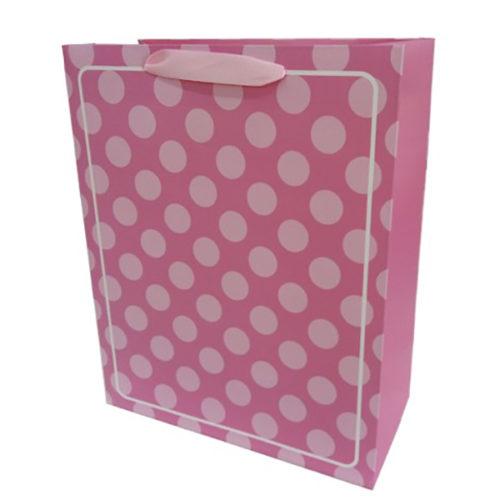 Пакет подарочный 26 х 32 х 12 В белую точку Розовый