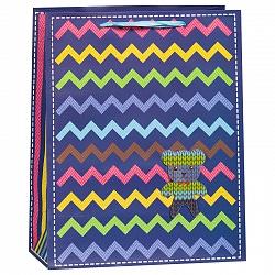 Пакет подарочный 26 х 32 х 12 Маленький медвежонок разноцветные зигзаги Синий