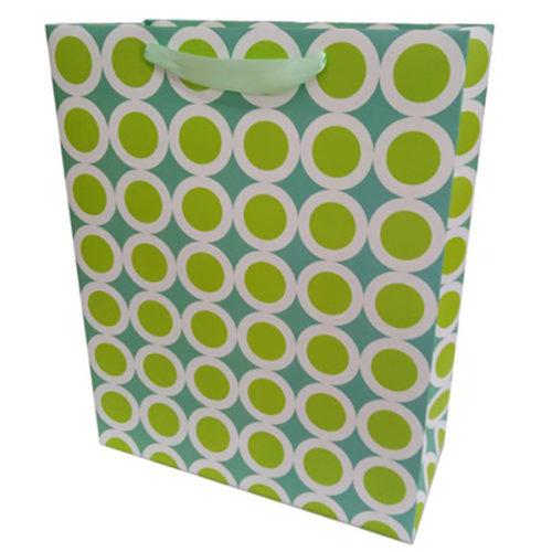 Пакет подарочный 26 х 32 х 12 Точки в белой окантовке Голубой